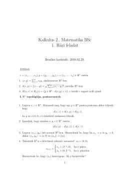 Kalkulus 2., Matematika BSc 1. Házi feladat