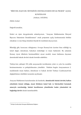 """1 """"BİREYSEL BAŞVURU SİSTEMİNİN DESTEKLENMESİ ORTAK"""