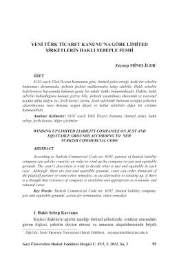 yeni türk ticaret kanunu`na göre limited şirketlerin
