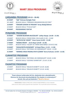 mart 2016 programı