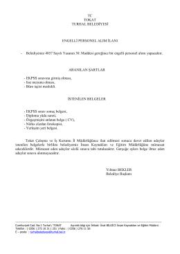 TC TOKAT TURHAL BELEDİYESİ ENGELLİ PERSONEL ALIM İLANI