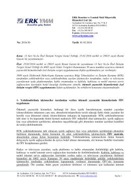 2016/30 - Ödemeli yayıncılık hizmetlerinde özel iletişim