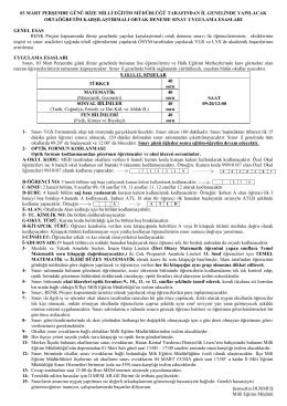 Sınav yönergesi için tıklayınız. - rize il millî eğitim müdürlüğü