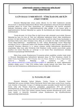 Ek-1 - Güneydoğu Anadolu İhracatçı Birlikleri