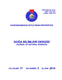 Vol (17), No 3 - Kahramanmaraş Sütçü İmam Üniversitesi Doğa