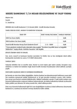 kredili bankomat 7/24 hesabı bilgilendirme ve talep formu