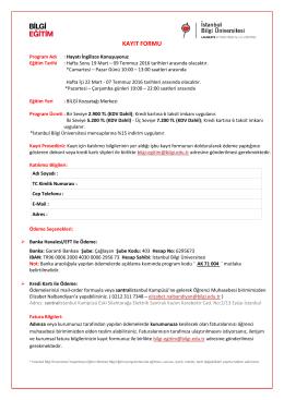 kayıt formu - BİLGİ Eğitim