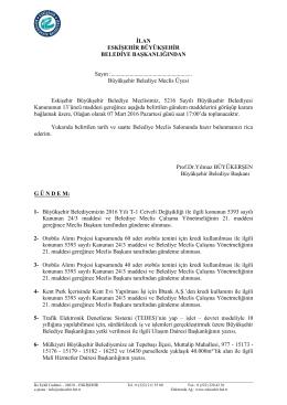 İlgili dosya için tıklayınız - Eskişehir Büyükşehir Belediyesi