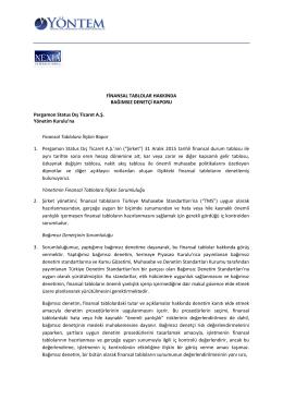 Pergamon Status Dış Ticaret A Ş 2015 yılı Bağımsız Denetim Raporu