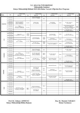 2015-2016 Yılı Bahar Dönemi Ders Programı (II.Ö)