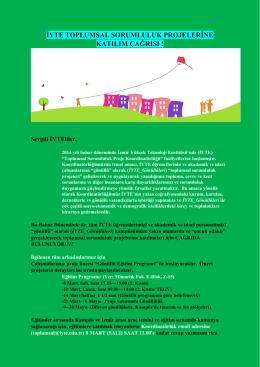 iyte toplumsal sorumluluk projelerine katılım çağrısı