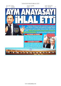 AYM ANAYASAYI IHLAL ETTI www.medyatakip.com