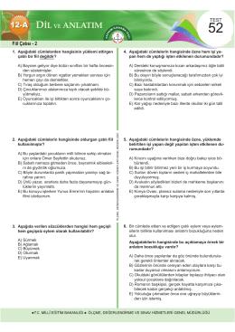 d ve anlatım - Ölçme, Değerlendirme ve Sınav Hizmetleri Genel
