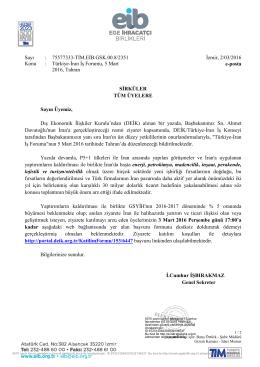 Sayı : 75577333-TİM.EİB.GSK.00.8/2351 İzmir, 2/03/2016 Konu