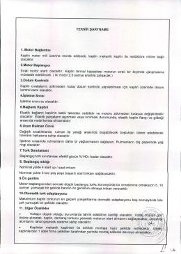 hidrolik kaplin alımı teknik şartnamesi ve ihtiyaç listesi