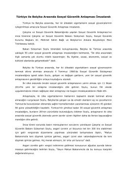 Türkiye ile Belçika Arasında Sosyal Güvenlik Anlaşması