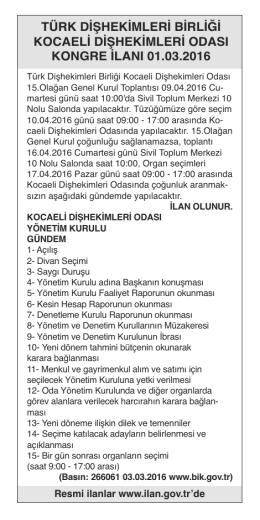 türk dişhekimleri birliği kocaeli dişhekimleri odası kongre ilanı 01.03