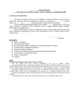 Genel Kurul Toplantısına Çağrı Mektubu