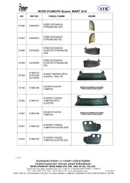 İNTER OTOMOTİV Scania MART 2016 Katalogtaki ürünler ve