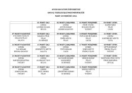 Sosyal Tesis Yemek Listesi - Afyon Kocatepe Üniversitesi