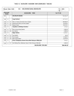 TABLO 1.2 GELİRLERİN EKONOMİK SINIFLANDIRILMASI