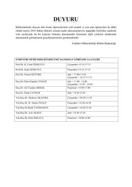 duyuru - Uludağ Üniversitesi Endüstri Mühendisliği Bölümü