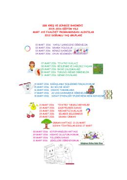 sgk kreş ve gündüz bakımevi 2015-2016 eğitim yılı mart ayı faaliyet