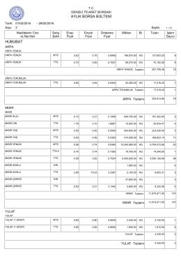 şubat 2016 aylık bülten - Denizli Ticaret Borsası