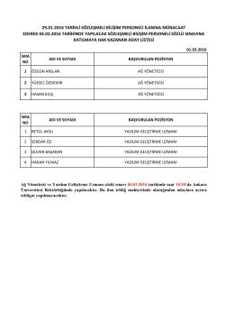 29.01.2016 tarihli sözleşmeli bilişim personeli ilanına müracaat