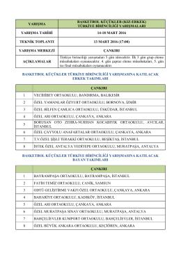 türkiye birinciliği yarışmaları yarışma tarihi 14