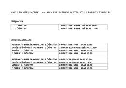 HMY 150 GİRİŞİMCİLİK ve HMY 136 MESLEKİ MATEMATİK