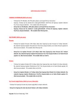 GÖSTERGELERLE İSPANYA YABANCI YATIRIMLAR (2015 yılı sonu)