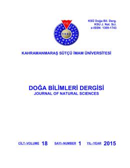 Vol (18), No 1 - Kahramanmaraş Sütçü İmam Üniversitesi Doğa