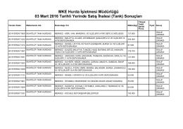 MKE Hurda İşletmesi Müdürlüğü 03 Mart 2016 Tarihli Yerinde Satış