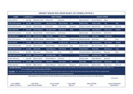 Mart Ayı Yemek Listesi-1 - Hikmet Kiler Fen Lisesi