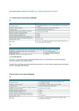 Finansal Tablo ve/veya Dipnot Değişikliği Finansal Tablo ve/veya