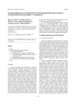 maldi zobrazovací hmotnostní spektrometrie pro studium