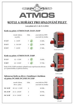 Ceník pro kotle a hořáky na pelety PDF