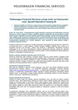 Volkswagen Financial Services určuje směr ve financování vozů