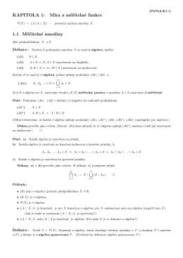 KAPITOLA 1: Míra a měřitelné funkce 1.1 Měřitelné množiny