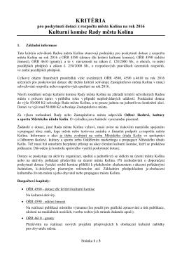 Kritéria 2016 - Město Kolín