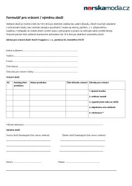 Formulář pro vrácení / výměnu zboží