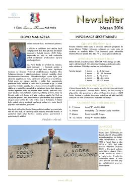 Newsletter - I.ČLTK Praha