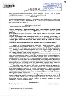 oznámení o vyhlášení revize katastru nemovitostí - k.ú. Karlín