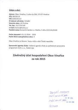 """Zpráva """"Závěrečný účet hospodaření Obce Vinařice za rok 2015"""""""
