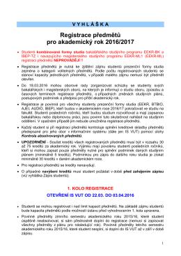 Registrace předmětů pro akademický rok 2016/2017