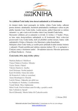 Na vyhlášení České knihy letos dorazí nakladatelé ze tří kontinentů