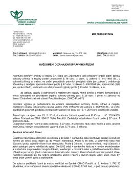 Zahájení správního řízení SR/0014/PO o udělení výjimky vjezdu a