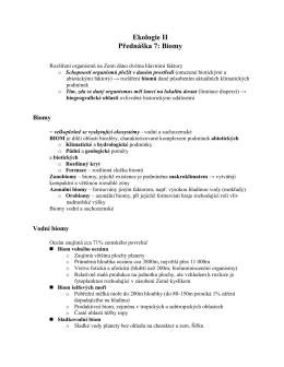 Ekologie II Přednáška 7: Biomy