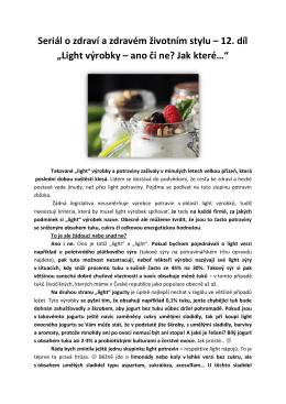 Seriál o zdraví a zdravém životním stylu – 12. díl